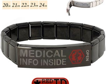 "Pre Etched ""Medical Info Inside"" Black Steel Medical Alert SOS ID Stretch Bracelet 200 Characters on two Waterproof Labels By REDMEDID"