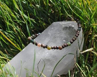Green Fancy Jasper and Wooden Beaded Bracelet