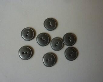 10 buttons metal gray 14 mm in diameter