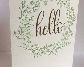 Greeting card, Hello, Envelope Addressing, Modern Calligraphy