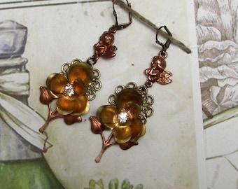 Vintage Angel Flower Earrings