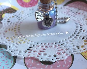 Slime Bottle Necklace/Keychain (Lavender&Sky Blue Ombré)
