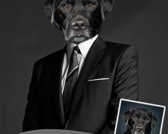 Custom Dog Portrait in Suit - Pet Portrait - Pets Portrait from Photo - Custom Pet Portrait - Dog Print - Printable Pet Portrait