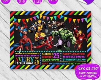 Avengers Invitations Etsy - Avengers birthday invitation wording