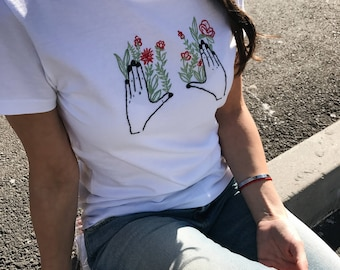 Embroidered t-shirt, Hand embroidery, White t shirt, embroidered shirt, embroidered tee, Floral embroidery, gift for her