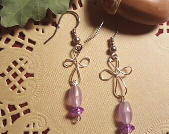 Petite Purple Dangle Earrings