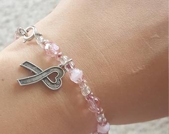 Pink Beaded Breast Cancer Bracelet