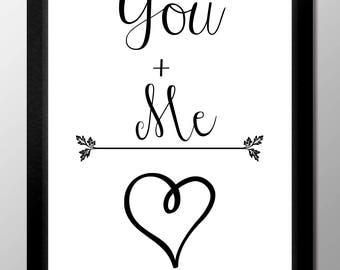 You + Me = Love  Digital Print