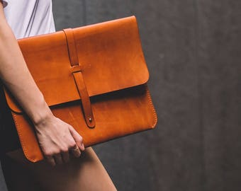 """Leather Laptop Sleeve (with strap or knot) 13"""" case"""