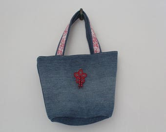 Bag for girl in denim, liberty and flowers