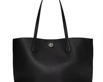NWT Tory Burch Perry Pebbled Leather Black Large Tote Handbag