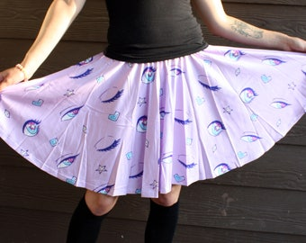 Cute Eyes Skater Skirt - Anime Style Cute Eyes Pattern Pastel Purple Skirt - One Size and Plus Size