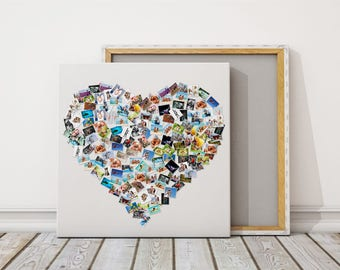 Photo Canvas Collage Heart Photo Heart Montage Wall Art