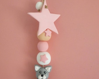 Grey cat with pink pearls, white, peach and his star to hang!