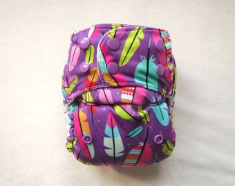 Pocket Diaper, Purple Feathers,Washable Cloth Diaper,Diaper Cover,Nursery Idea,Nappies,Baby Diaper,One Size,Modern,Cloth Diaper Pattern,Baby