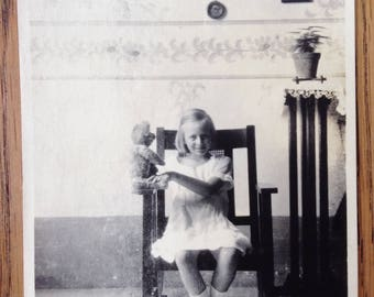 Antique Vintage Photo - Young Girl and Teddy Bear - Black and White Photo - Young Girl Photo - Vintage Snapshot - Little Girl - 1920s Photo