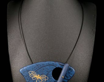 Reverse blue cosmos tattoo Dragonfly gold necklace