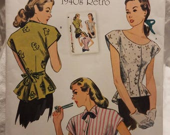 Simplicity 1590 1940s Retro Pattern for Peplum Blouse