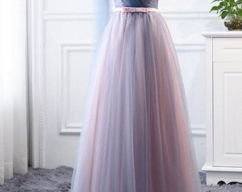 Bridesmaid Dress, Tulle Bridesmaid Dress, Prom Dress, Pink Blue Dress, One Shoulder, Sweetheart, Fashion Dress, Long Dress, Formal Dress