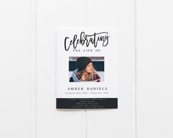 Celebrating the life of Modern Black and  White Funeral Program Template Obituary Template Order Of Service Memorial Service Template
