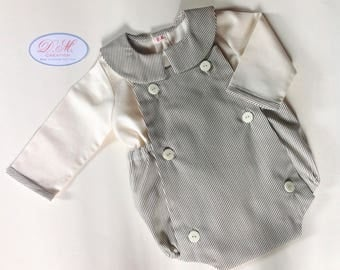 Romper fabric boy striped ecru gray, matching blouse