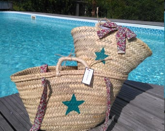 Duo of mother/daughter Beach baskets/bags star turquoise and the hearty liberty