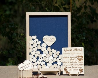 Something Blue Wedding Guest Book alternative,Wedding gift for couple,Drop box guest book,Wooden Hearts,Wedding Sign Rustic