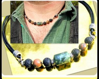 COLLIER Homme Cuir noir pierre Jasp vert, Lave, Unakite,Collier homme perles argent tibetain, COLLIER mala gemme guérison,cadeau homme