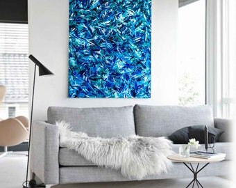 """Abstract Acrylic Painting on Canvas 130X90 """"Northern Blue Lights"""""""