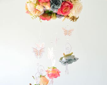 Ballerina mobile,ballet mobile,princess mobile,baby shower decoration,romantic,pink,blue, flower mobile,butterfly,
