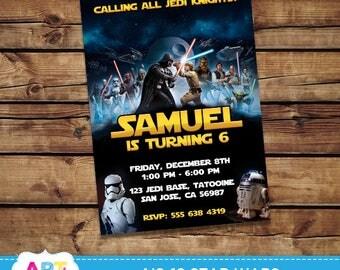 Star Wars Invite, Star Wars Birthday Invitations, Digital Printable Party, Personalized Star Wars Jedi Printable Card - AIS-19