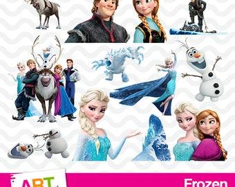 Frozen Clipart, High Resolution Frozen Images, Frozen Birthday Party, Anna, Elsa, Olaf, Kristoff, PNG Files, Disney Printables, art-014