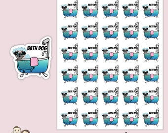 BATH DOG REMINDER | Planner Stickers  | Kawaii | Pug | Pet | Wash |  Erin Condren |   | S99