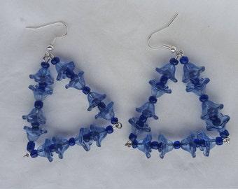 Blue floral earrings, shades of blue, BO fleurs bleues