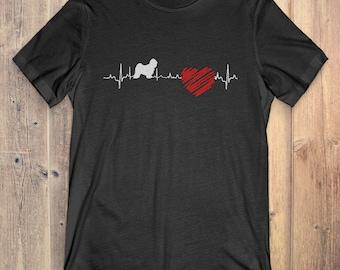 Tibetan Terrier Dog T-Shirt Gift: Tibetan Terrier Heartbeat
