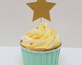 12 x gold glitter star cupcake toppers. DOUBLE SIDED First birthday cupcake toppers. Baby shower cupcake toppers.