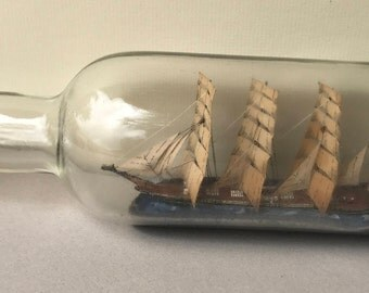 Vintage Handcrafted Model Fan Sail Ship in a Bottle