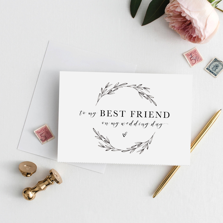 Printable 5x7 To My Best Friend Wedding Card