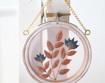 """Pink and Blue - ' Leaf Series 17' - 3"""" hoop"""