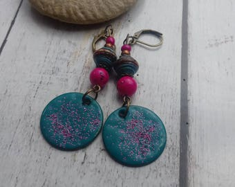 Our Time is up, paper and bronze fuchsia and turquoise earrings