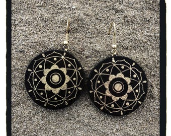 Wooden Earrings-Mandala earrings-hand painted earrings-gift idea-gift for her-round earrings-hoop earrings