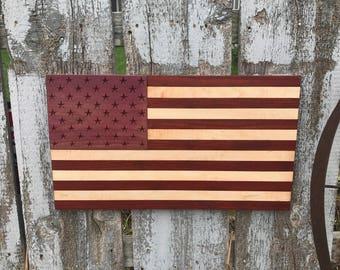 Mixed Hardwoods Engraved American Flag