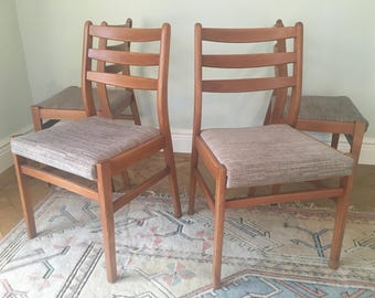 Set of Four 1960s Solid Teak Dining Chairs by Ligna Drevounia - Czech Slovakia MidCentury Modern