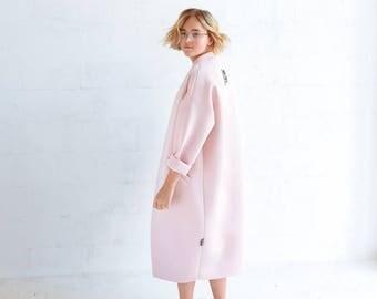 Neoprene coat, lightweight coat, oversized coat, spring coat, pink coat, elegant coat, women outwear, warm coat, hipster coat, plaid coat