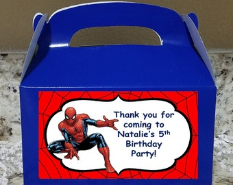 Sale! 12 Spiderman Treat Boxes, Spiderman Gable Boxes, Spiderman Candy Boxes, Spiderman Party Boxes