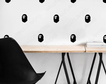 Bathing Ape Bape Wall Pattern Decals x60 - 3 Inch - Office Studio Decor Art