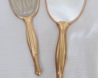 Vintage Handheld Mirror and Brush Set