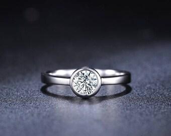 Round Diamond Engagement Ring 14k White Gold or Yellow Gold or Rose Gold Diamond Ring Bezel Setting Proposal Ring Anniversary Ring