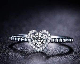 Round Diamond Engagement Ring 14k White Gold or Yellow Gold or Rose Gold Halo Diamond Ring Proposal Ring Anniversary Ring