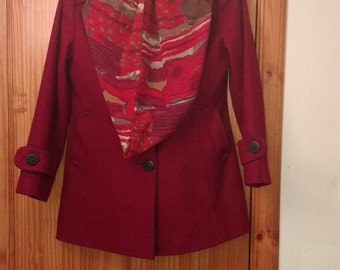 Marcona deep berry red wool jacket size 14